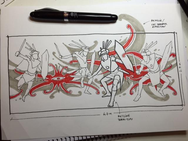 Desain mural awal Ruang Kalimantan - OLX